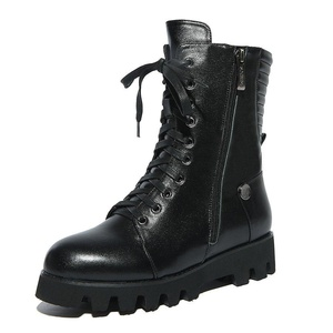 Nine Seven Genuine Leather Women's Round Toe Flat Heel Platform Lace Up Handmade Ankle Bootie with Zip (5, black)