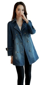 SiYuan Women's Long Sleeve Lapel Blue Denim Thin Coat Cardigan Jacket M