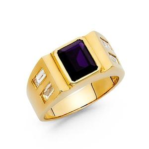 14K Solid Yellow Gold Purple Princess Cut Cubic Zirconia Ring