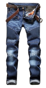 Plaid&Plain Men's Retro Classic Washed Zipper Skinny Destroyed Ripped Jeans Q-Blue 28