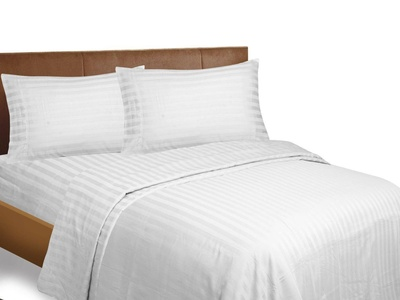 Bonne Nuit Bedding Stripe 500 Thread Count 100% Cotton Sateen Wrinkle Resistant Sheet Set King Ivory.