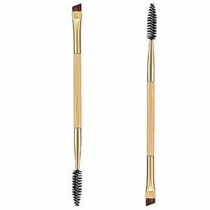 Brow Brushes, Mostsola 1 Pcs Bamboo Handle Makeup Double Eyebrow Brush + Eyebrow Comb (Yellow)