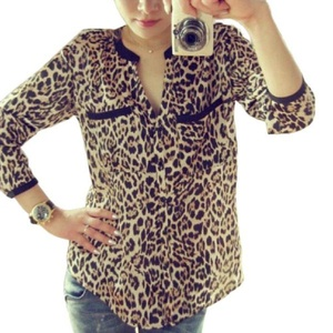 Shirt,NOMENI Women Leopard Chiffon Shirt Slim Casual Blouses Print Long Sleeve (L)