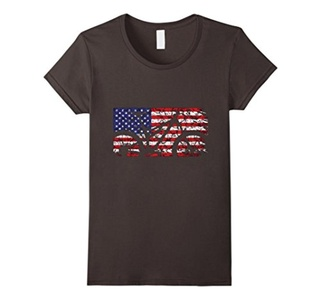 Women's Mountain Bike American Flag T-Shirt Small Asphalt