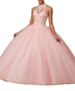 ?Meledy Women's Appliques High Neck Ball Gown Strapless Floor Length Pageant Beaded Long Quinceanera Dresses Light Pink US 2