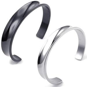 Dancing Stone Jewelry Men's Women's Stainless Steel Bracelet Cuff Silver Black Bangle (black 10 mm)