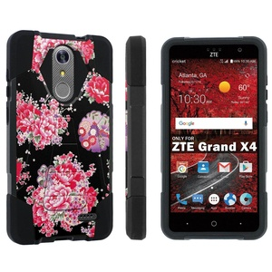 ZTE [Grand X 4] [Z956] Armor Case [Skinguardz] [Black/Black] Advance Defender [Kick Stand] - [Pink Japan Floral] for ZTE [Grand X 4] [GrandX4]