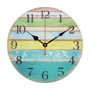 Vintage Rustic Country Tuscan Style Silent Wooden Wall Clock Home Decor