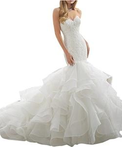 Gorgeous Bridal Long 2016 Ruffles Organza Lace Wedding Dress Sweetheart- US Size 14