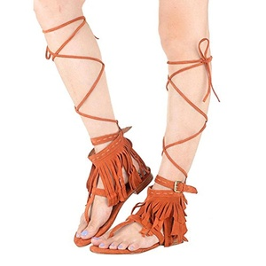 Eldof Women's Open Toe Buckle Strap Knee High Gladiator Inspired Fringed Flat Sandals Stacked Heel Summer Shoes Orange US12