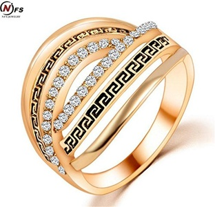 Dudee Jewelry Gold Plated Hollow Out Vintage Ring Vintage Zircon Bridal Ring Sets