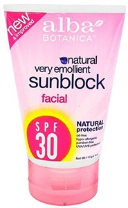 Alba Botanica Very Emollient Natural Protection Facial Sunblock 30 Spf - 4 Oz 2 Pack by Alba Botanica