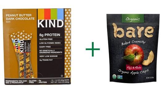 Kind Plus Bars Peanut Butter Dark Chocolate -- 12 Bars, ( 2 PACK ), Bare Organic Baked Crunchy Apple Chips Gluten Free Fuji & Reds -- 3 oz