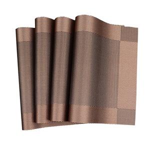 Lerela Vinyl Placemats Set Of 4 Stain-Resistant Woven PVC Place Mat Heat Insulation Table Mat