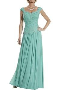 Gorgeous Bridal Long 2016 Cap Shoulder Lace Chiffon Evening Party Dress A-line- US Size 12