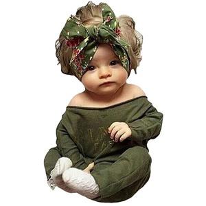 Baby Bodysuit Boys Girls Army Green Long Sleeve Printing 6-12M Romper Jumpsuit