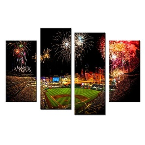VVOVV Wall Decor - 4 Panels Modern Canvas Prints Artwork wall decor Firework Happy Lancape Poster Art Room Decoration art Office Home Decor 48x32inch,with frame