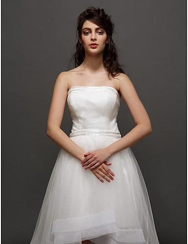 Lanting Bride® Ball Gown Petite / Plus Sizes Wedding Dress Little White Dresses Asymmetrical Strapless Tulle with Ruche / Side-Draped