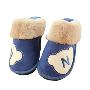 CN'Dragon Men's Winter Cotton Slippers Plush Slipper Indoor Household Nonslip Large Size Warm Slippers Animals Heelless Mules (300MM, Navy)