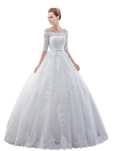 Bridess Women's Lace Off Shoulder Ball Gown Wedding Dress with Half Sleeves White 20W