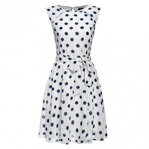 LI'L BLACK DRESS Women Polka Dots Chiffon Cocktail Party Dress W/ Belt (large, white)