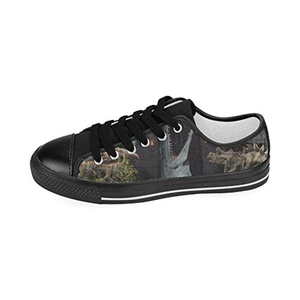Aneozap Custom Jurassic World Women's Low-top Lace-Up Canvas Shoes Sneakers Casual Flats,Black