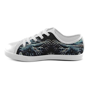 H-OME Art Slipknot Kid's Canvas Shoes Low-top Lace-up Breathable Sneakers,White