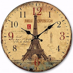 French Vintage Antique Wooden Wall Clock Large Decorative Wall Clocks Home Decor Eiffel Tower