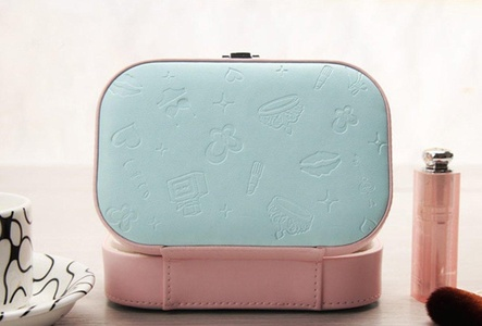 ONEONEY Portable Travel Jewelry Accessories Box Cosmetic Lockable Makeup Collection Holder Gift Box with Mirror-(Pink)
