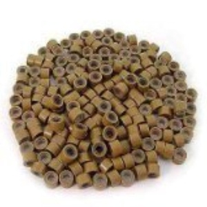 Picama 500 Pcs Light Brown 5mm Silicone Lined Micro-ring Links Beads Linkies for I Stick Hair Extension Installation and Feathers