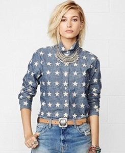 Denim Supply Ralph Lauren Star-applique Chambray Shirt Chambray M