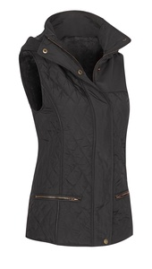 Women's Zip Up Sleeveless Quilted Hooded Vest with Faux Fur Lining