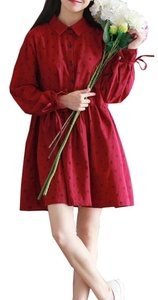 Plaid&Plain Women's Wheat Printed Lapel Swing Cotton Linen Dress with Collar Wine red US 0/2