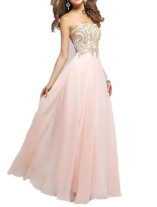 Winnie Bride Stunning Beaded Maxi Party Dress for Women Evening Formal Prom Gown-4-Pink