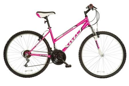 Titan Women's 18-Speed Pathfinder Front-Suspension Mountain Bike, Hot Pink, 17-Inch Steel Frame, 26-Inch Alloy Wheels