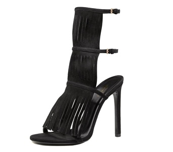 Gucci Shoes Becky Black Suede Fringed High Heel Sandals (IT 38.5 / US 8.5)