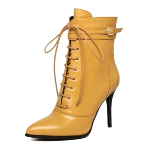 MERUMOTE Women's Autoasb Pointed Toe Thin High Heels Genuine Leather Front-Lacing Dress Booties