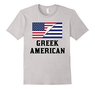 Men's Flags of Greece And USA Greek American T-Shirt Small Silver