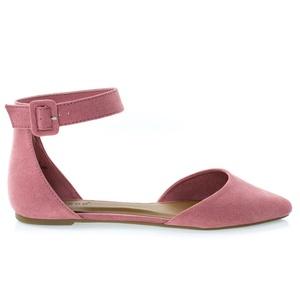 Sequel87M Mauve Women's Pointed Toe Flat w Double Open Shank d'Orsay Cut & Ankle Strap -8.5