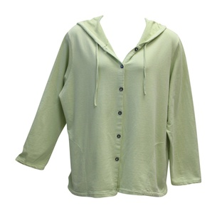 Liz and Jane Women's Solid Cotton French Terry Hoodie Jacket Plus Size (3X, Light Green)