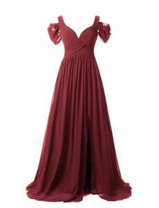 JYDress Women's Elegant V-Neck Evening Dress Pleated Cold-Shoulder Party Gown