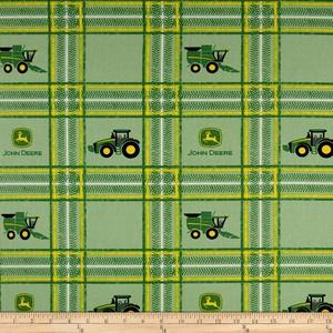 John Deere Tractor Plaid Multi Fabric By The Yard