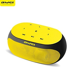 Micord Awei Portable Bluetooth Speaker, Wireless Mini Speaker 3 in 1 Audio input - Bluetooth & TF card & AUX, 8-hours Playing Time Stereo Speaker for iPad iPhone and more (Yellow)