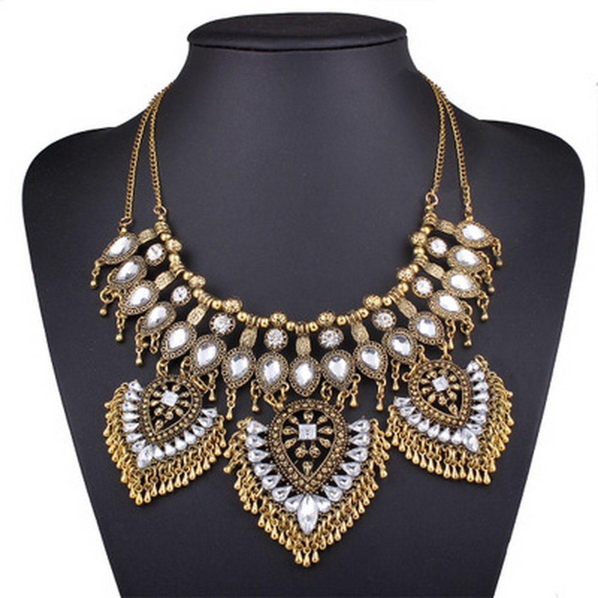 ARICO Big Maxi Nacklace Crystal Beads Statement Necklace Chain Chunky Necklace Enamel Jewelry NE427