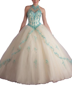 YinWen Women's Halter Lace Applique Beaded Sweet Sixteen Prom Pagenat Quinceanera Dress Debutante Gown Size 12 US Champagne