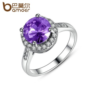 Slyq Jewelry Big Purple Stone Ring with Zircon Round Cutting Finger Ring Engagement Jewelry JIR190