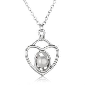 Rinhoo White Gold Plated Crystal Rhinestone Love Heart Pendant Necklace(White)