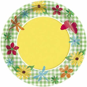 Floral 'Garden Check' Small Paper Plates (8ct)