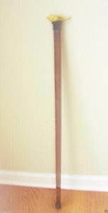 Wooden Walking Stick Cane Handmade Iron Yellow Bird for Handle Square Cane