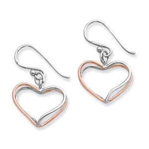 .925 Sterling Silver 31 MM & Rose Vermeil Double Wire Heart Dangle Shepherd Hook Earrings